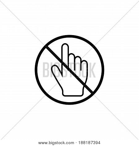 No hand cursor line icon, prohibition sign, forbidden don't touch, vector graphics, a linear pattern on a white background, eps 10.