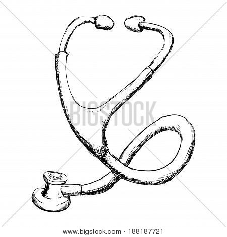 medical stethoscope to check cardiac heartbeat, vector illustration