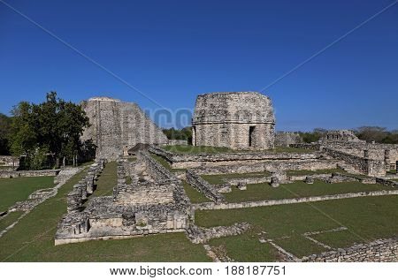 Mayapan ancient maya ruins in Yucatan, Mexico