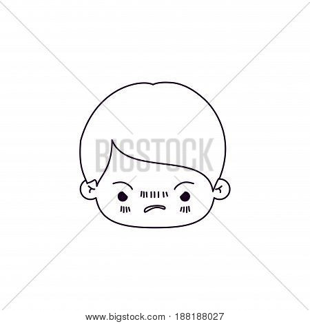 monochrome silhouette of facial expression angry kawaii little boy vector illustration