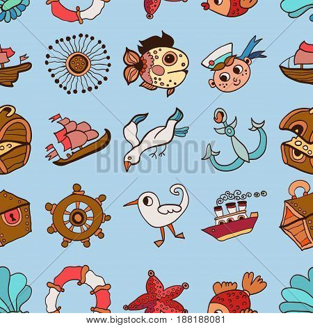 Seamless vector pattern with sea anchors, seagulls and lighthouses. Texture for wrapping paper, gifts, web design or textile.