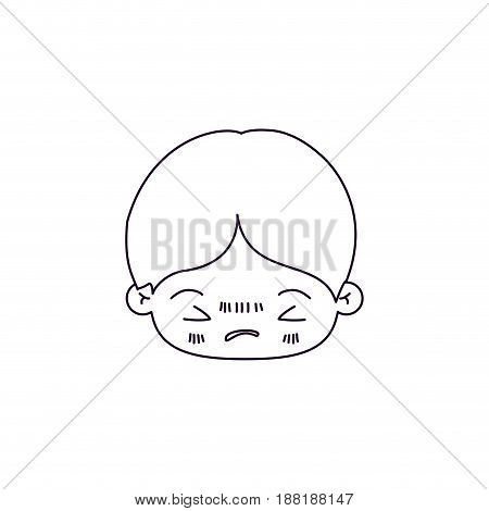 monochrome silhouette of facial expression bored kawaii little boy vector illustration