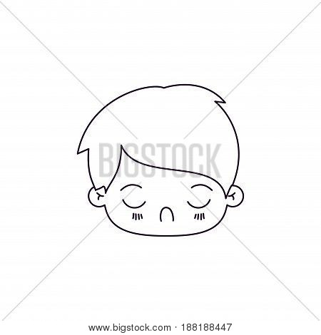 monochrome silhouette of facial expression tired kawaii little boy vector illustration