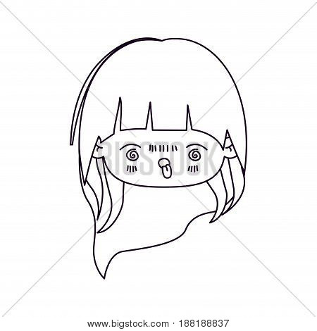 monochrome silhouette of facial expression furious kawaii little girl with long hair vector illustration