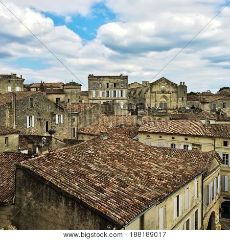 Tiled rooftops of Saint-Emilion historic town in Bordeaux France.
