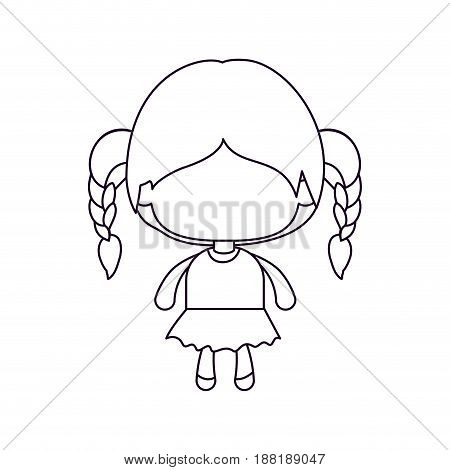 monochrome silhouette of faceless little girl with braided hair vector illustration