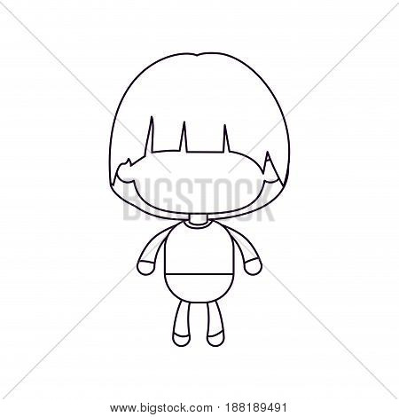 monochrome silhouette of faceless little boy with mushroom haircut vector illustration