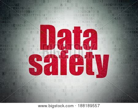 Data concept: Painted red word Data Safety on Digital Data Paper background