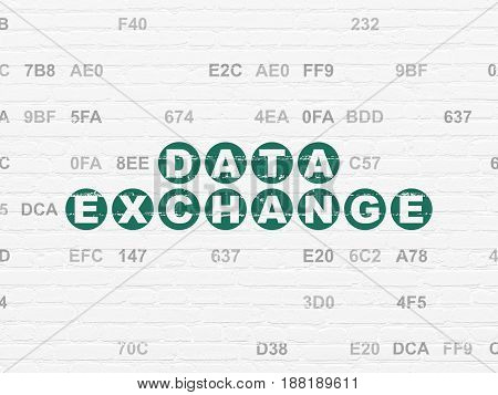 Information concept: Painted green text Data Exchange on White Brick wall background with Hexadecimal Code