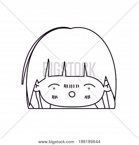 monochrome silhouette of facial expression nervous smile kawaii little girl with short hair vector illustration