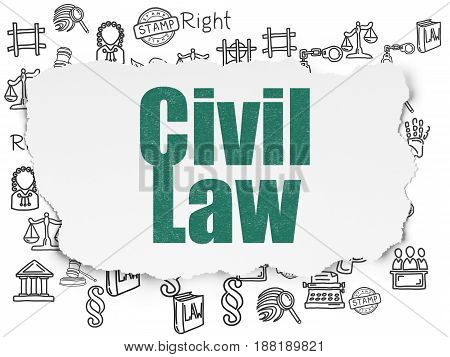 Law concept: Painted green text Civil Law on Torn Paper background with  Hand Drawn Law Icons