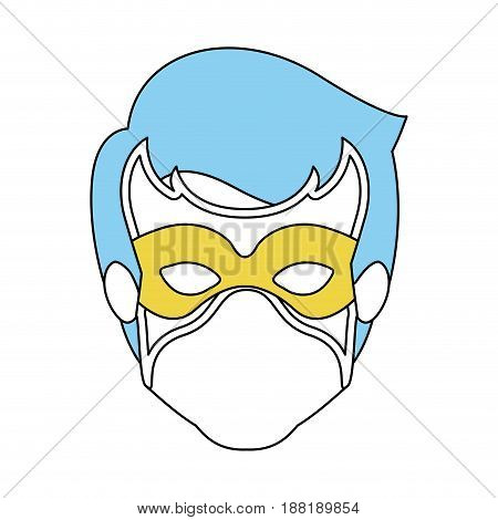 color silhouette with faceless guy superhero with blue hair and mask vector illustration