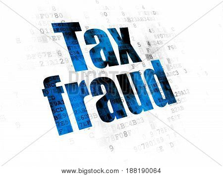 Law concept: Pixelated blue text Tax Fraud on Digital background