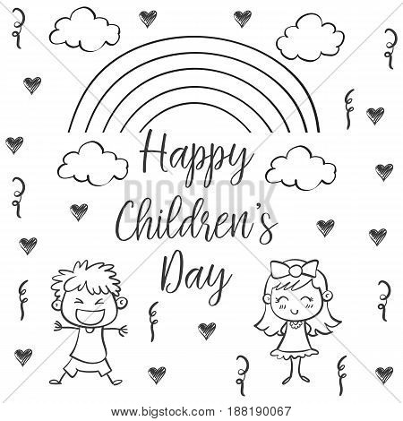Happy children day hand draw collection vector art