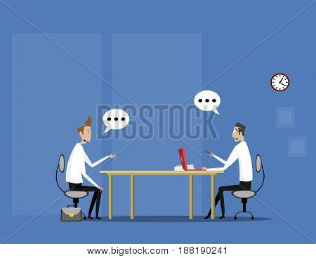 Concept with interviews by the candidate sitting at the table and talking. Recruitment or hiring concept illustration.