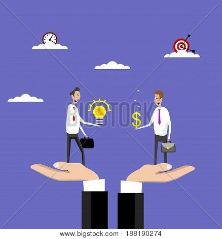 Hands holds businessmen who buy idea, investing in innovation, modern technology business concept. Vector illustration