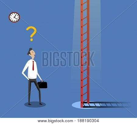 Businessman standing near ladder. Concept of doubtful, selecting the best solution and best possibilities. Vector illustration