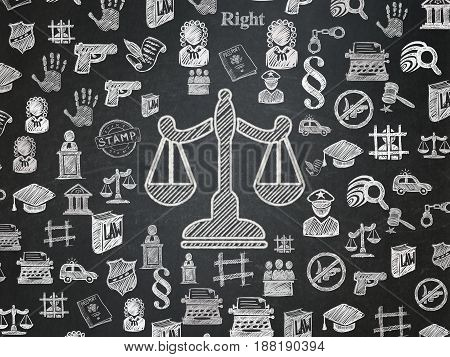 Law concept: Chalk White Scales icon on School board background with  Hand Drawn Law Icons, School Board