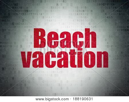 Travel concept: Painted red word Beach Vacation on Digital Data Paper background