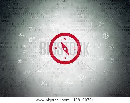 Tourism concept: Painted red Compass icon on Digital Data Paper background with  Hand Drawn Vacation Icons
