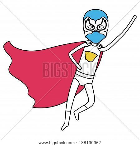 color silhouette with superhero boy flying in diagonal direction vector illustration