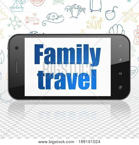 Vacation concept: Smartphone with  blue text Family Travel on display,  Hand Drawn Vacation Icons background, 3D rendering