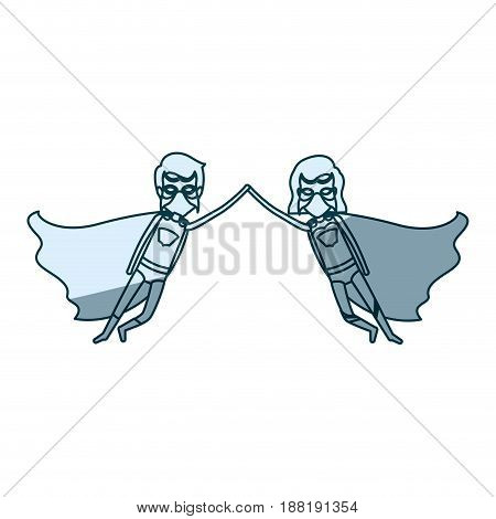 blue silhouette with couple of superheroes flying united of the hands and her with short hair vector illustration