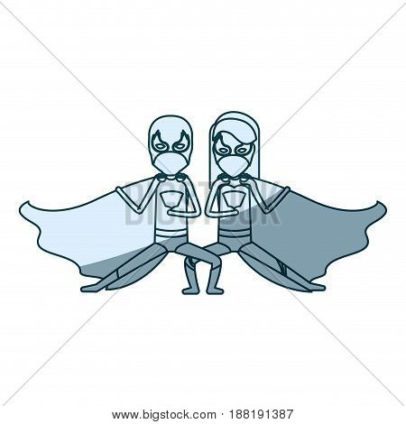 blue silhouette with duo of superheroes in defensive pose and her with straight long hair vector illustration