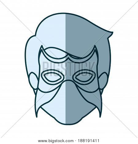 blue silhouette with face of man superhero with mask vector illustration
