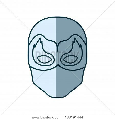 blue silhouette with face of man superhero masked with mask shape of flame around the eyes vector illustration