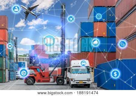 Global business connection technology interface global partner connection of Container Cargo freight truck for logistic import export background. Business logistics concept internet of things