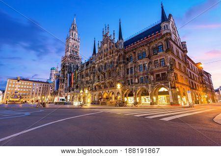 Night panorama of Marienplatz and Munich city hall in Munich Germany.