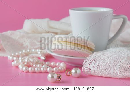 White Pearls Necklace On Toilette Table. Selective Focus.