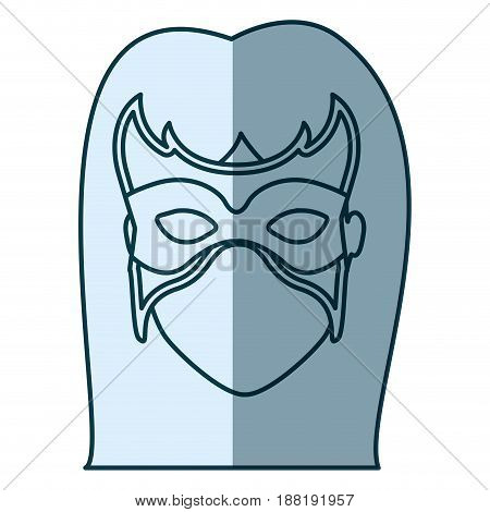 blue silhouette with face of woman superhero with long hair and mask vector illustration