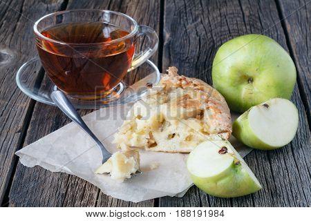 Apple Pie. Apple Cake Slice. Charlotte Cake.