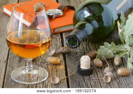 Schnapps with pears and spices on table