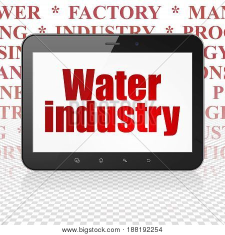 Industry concept: Tablet Computer with  red text Water Industry on display,  Tag Cloud background, 3D rendering