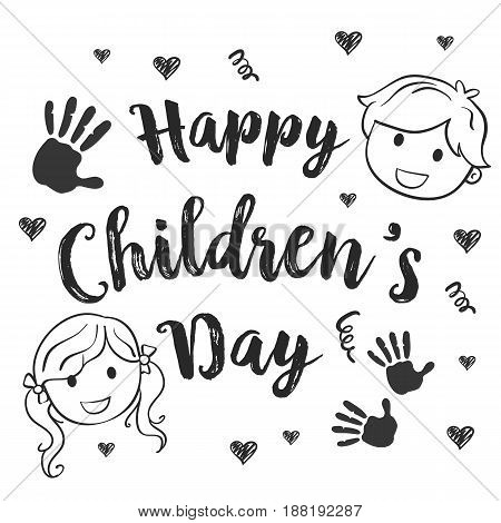 Collection children day hand draw vector illustration
