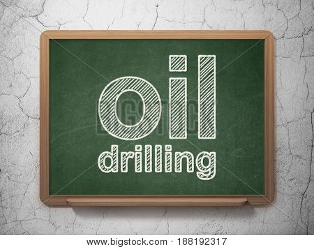 Industry concept: text Oil Drilling on Green chalkboard on grunge wall background, 3D rendering