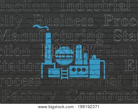 Manufacuring concept: Painted blue Oil And Gas Indusry icon on Black Brick wall background with  Tag Cloud
