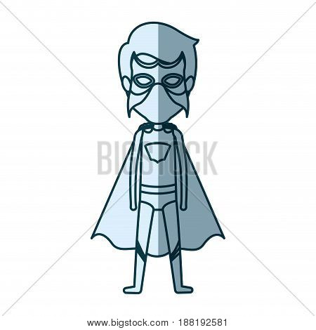 blue silhouette with standing male superhero and masked vector illustration