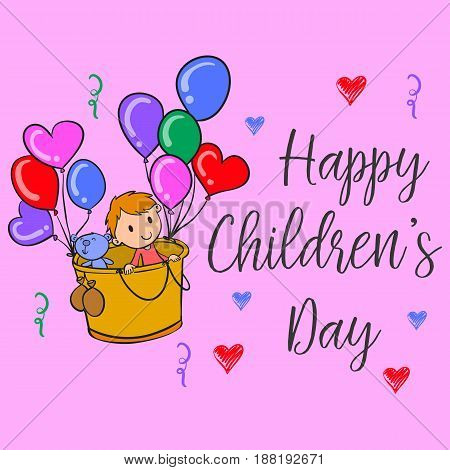 Happy children day colorful style collection vector illustration