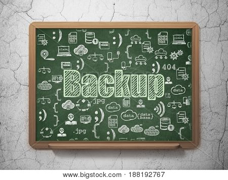 Programming concept: Chalk Green text Backup on School board background with  Hand Drawn Programming Icons, 3D Rendering