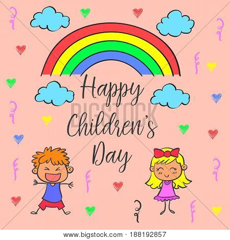 Children day theme with rainbow vector illustration
