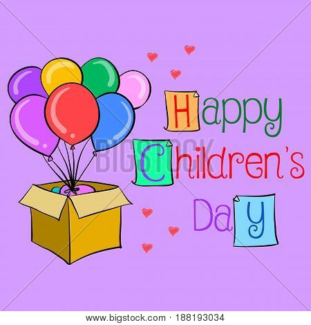 Happy childrens day colorful hand draw vector illustration