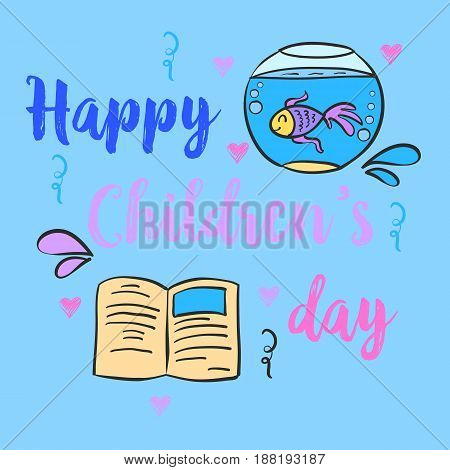 Childrens day hand draw style doodles vector illustration