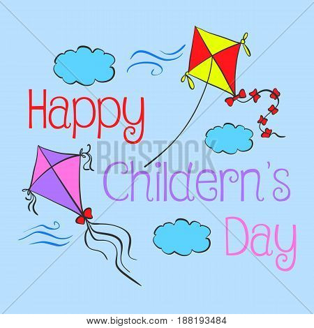 Children day hand draw style doodles vector illustration