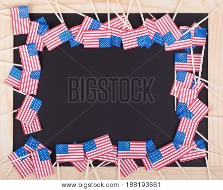 United States flags on a chalk board
