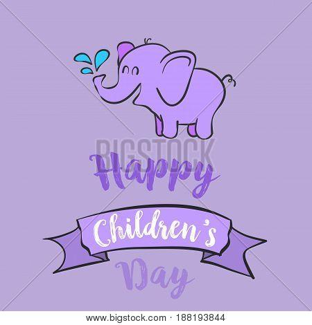 Cartoon children day celebration style vector illustration