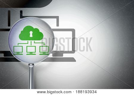 Cloud technology concept: magnifying optical glass with Cloud Network icon on digital background, empty copyspace for card, text, advertising, 3D rendering